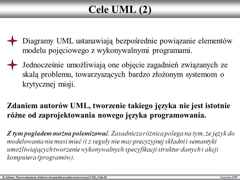 K.Subieta. Wprowadzenie do obiektowych metodyk projektowania i notacji UML, Folia 68 Czerwiec 1999 Cele UML (2) Diagramy UML ustanawiają bezpośrednie
