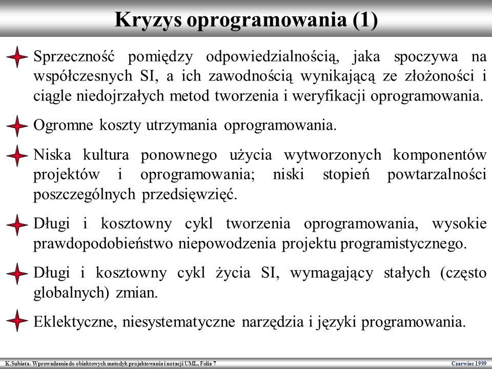 K.Subieta. Wprowadzenie do obiektowych metodyk projektowania i notacji UML, Folia 7 Czerwiec 1999 Kryzys oprogramowania (1) Sprzeczność pomiędzy odpow