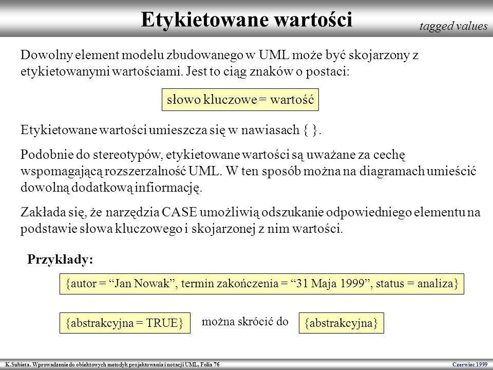 K.Subieta. Wprowadzenie do obiektowych metodyk projektowania i notacji UML, Folia 76 Czerwiec 1999 Etykietowane wartości tagged values Dowolny element