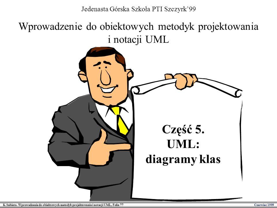 K.Subieta. Wprowadzenie do obiektowych metodyk projektowania i notacji UML, Folia 77 Czerwiec 1999 Wprowadzenie do obiektowych metodyk projektowania i