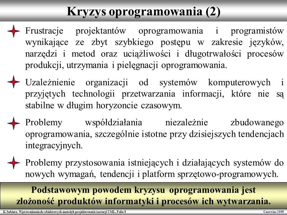 K.Subieta. Wprowadzenie do obiektowych metodyk projektowania i notacji UML, Folia 8 Czerwiec 1999 Kryzys oprogramowania (2) Frustracje projektantów op