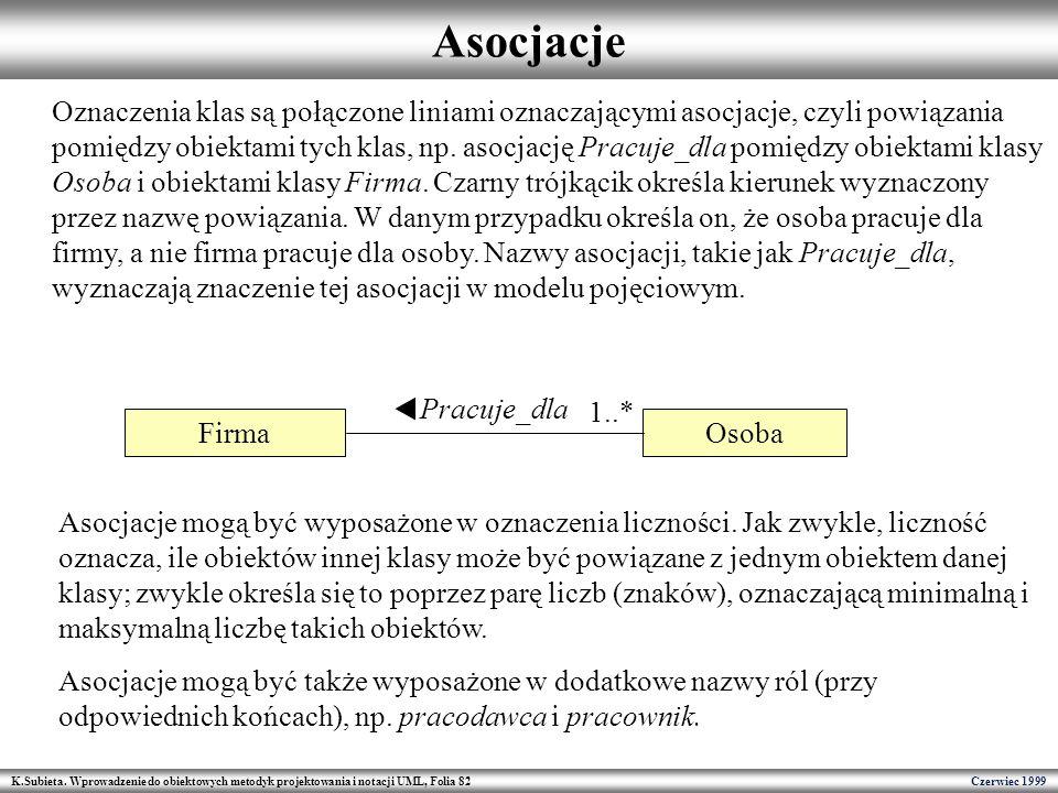 K.Subieta. Wprowadzenie do obiektowych metodyk projektowania i notacji UML, Folia 82 Czerwiec 1999 Asocjacje Firma Osoba Pracuje_dla 1..* Oznaczenia k