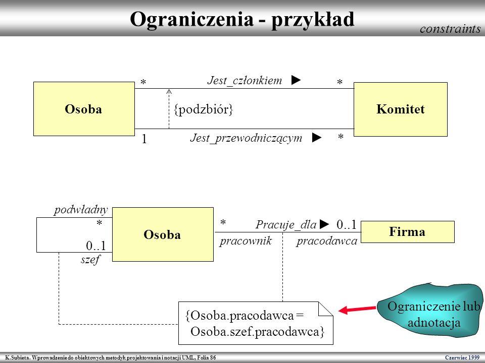 K.Subieta. Wprowadzenie do obiektowych metodyk projektowania i notacji UML, Folia 86 Czerwiec 1999 Ograniczenia - przykład constraints Ograniczenie lu