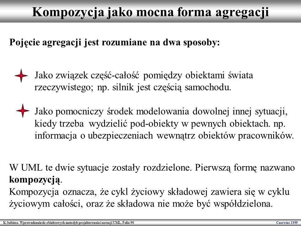 K.Subieta. Wprowadzenie do obiektowych metodyk projektowania i notacji UML, Folia 90 Czerwiec 1999 Kompozycja jako mocna forma agregacji Pojęcie agreg