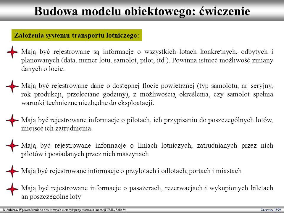K.Subieta. Wprowadzenie do obiektowych metodyk projektowania i notacji UML, Folia 94 Czerwiec 1999 Budowa modelu obiektowego: ćwiczenie Mają być rejes