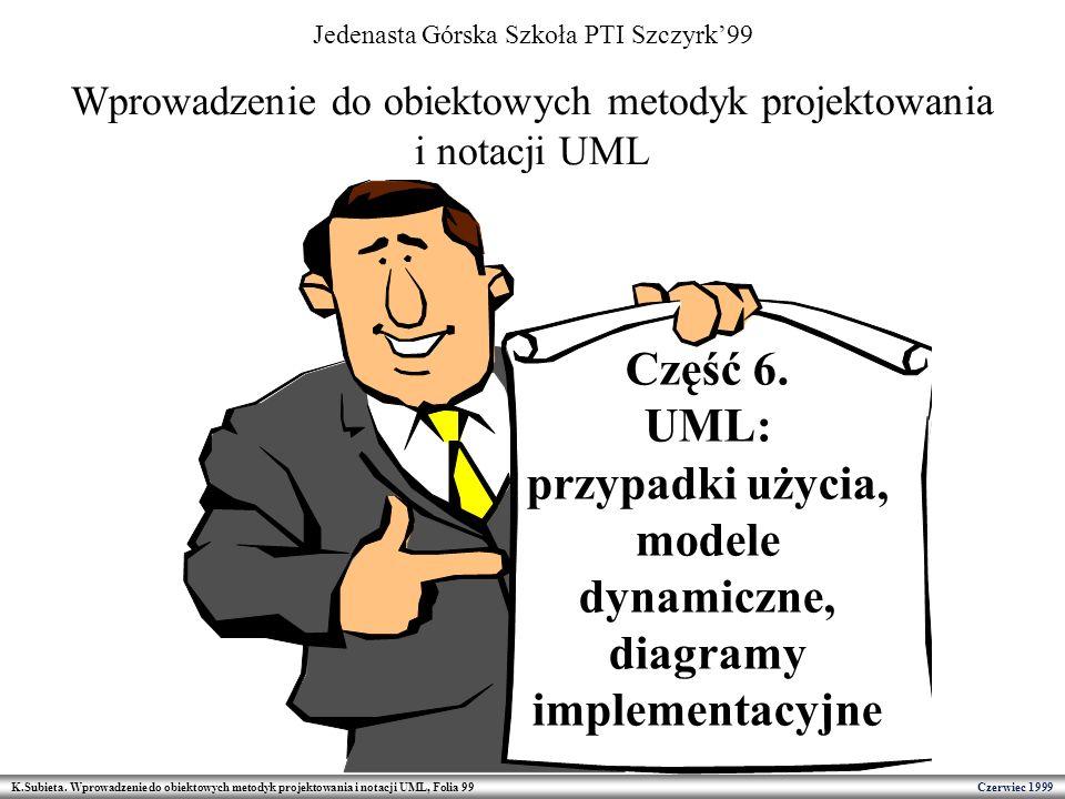 K.Subieta. Wprowadzenie do obiektowych metodyk projektowania i notacji UML, Folia 99 Czerwiec 1999 Wprowadzenie do obiektowych metodyk projektowania i
