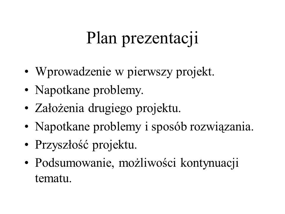 Plan prezentacji Wprowadzenie w pierwszy projekt. Napotkane problemy.