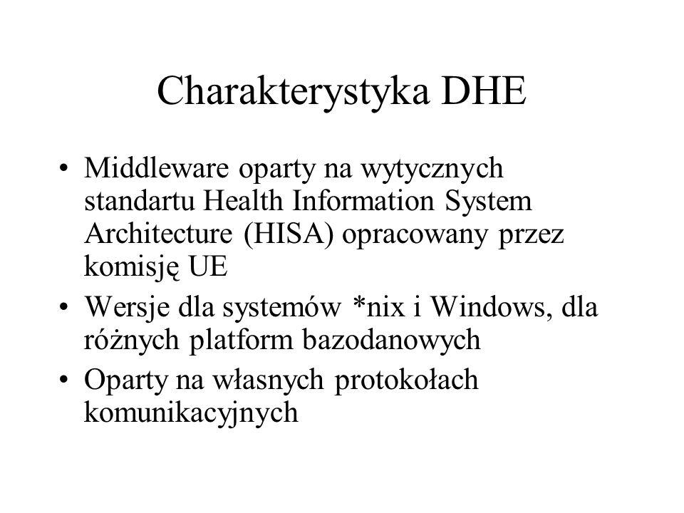 Charakterystyka DHE Middleware oparty na wytycznych standartu Health Information System Architecture (HISA) opracowany przez komisję UE Wersje dla systemów *nix i Windows, dla różnych platform bazodanowych Oparty na własnych protokołach komunikacyjnych