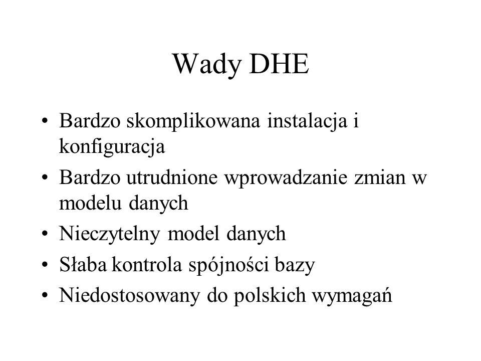 Wady DHE Bardzo skomplikowana instalacja i konfiguracja Bardzo utrudnione wprowadzanie zmian w modelu danych Nieczytelny model danych Słaba kontrola spójności bazy Niedostosowany do polskich wymagań