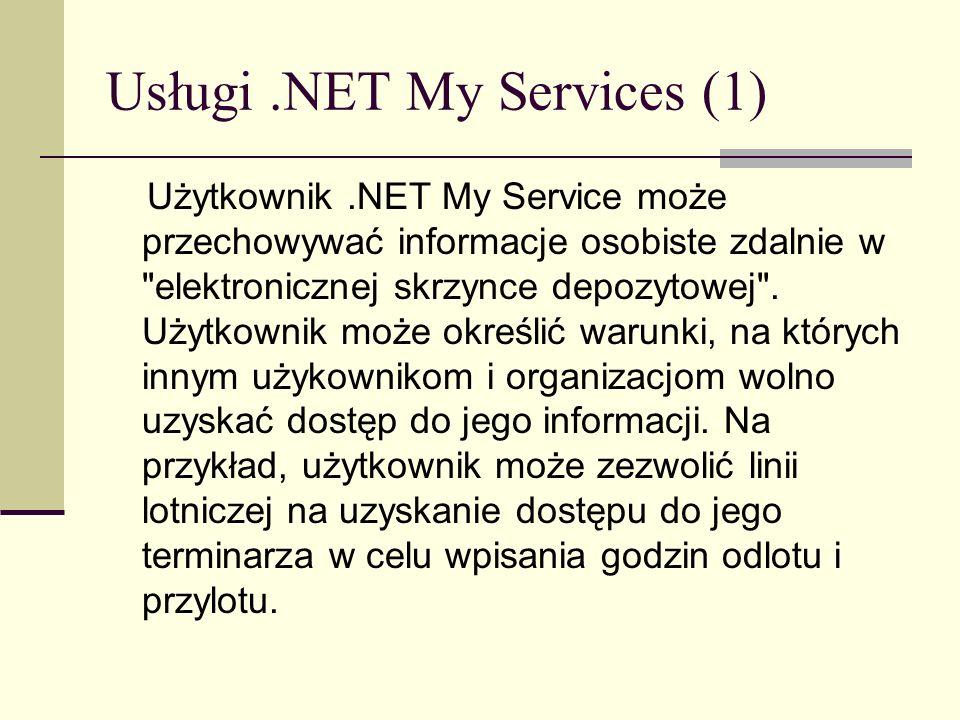 Usługi.NET My Services (1) Użytkownik.NET My Service może przechowywać informacje osobiste zdalnie w