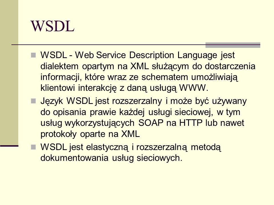 WSDL WSDL - Web Service Description Language jest dialektem opartym na XML służącym do dostarczenia informacji, które wraz ze schematem umożliwiają kl