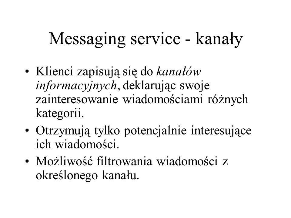 Messaging service - kanały Klienci zapisują się do kanałów informacyjnych, deklarując swoje zainteresowanie wiadomościami różnych kategorii.