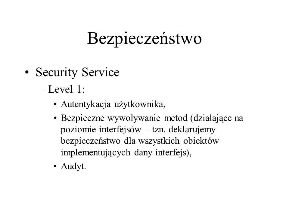 Bezpieczeństwo Security Service –Level 1: Autentykacja użytkownika, Bezpieczne wywoływanie metod (działające na poziomie interfejsów – tzn.