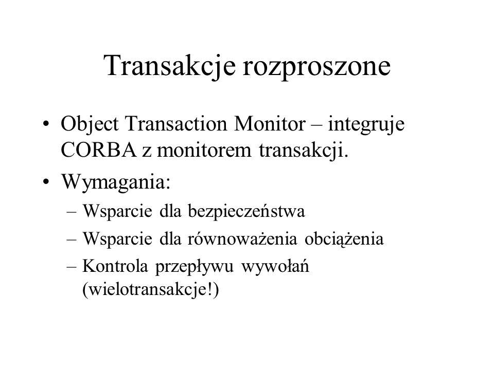 Transakcje rozproszone Object Transaction Monitor – integruje CORBA z monitorem transakcji.