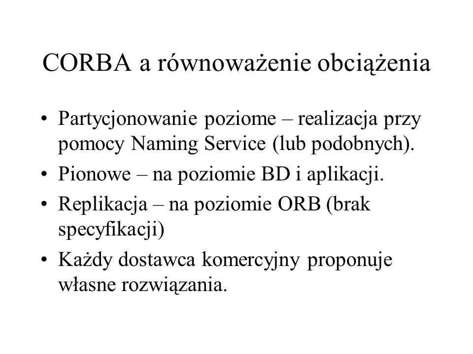 CORBA a równoważenie obciążenia Partycjonowanie poziome – realizacja przy pomocy Naming Service (lub podobnych).
