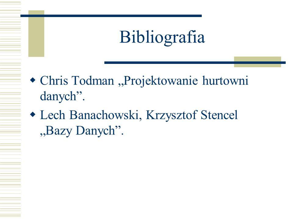 Bibliografia Chris Todman Projektowanie hurtowni danych. Lech Banachowski, Krzysztof Stencel Bazy Danych.