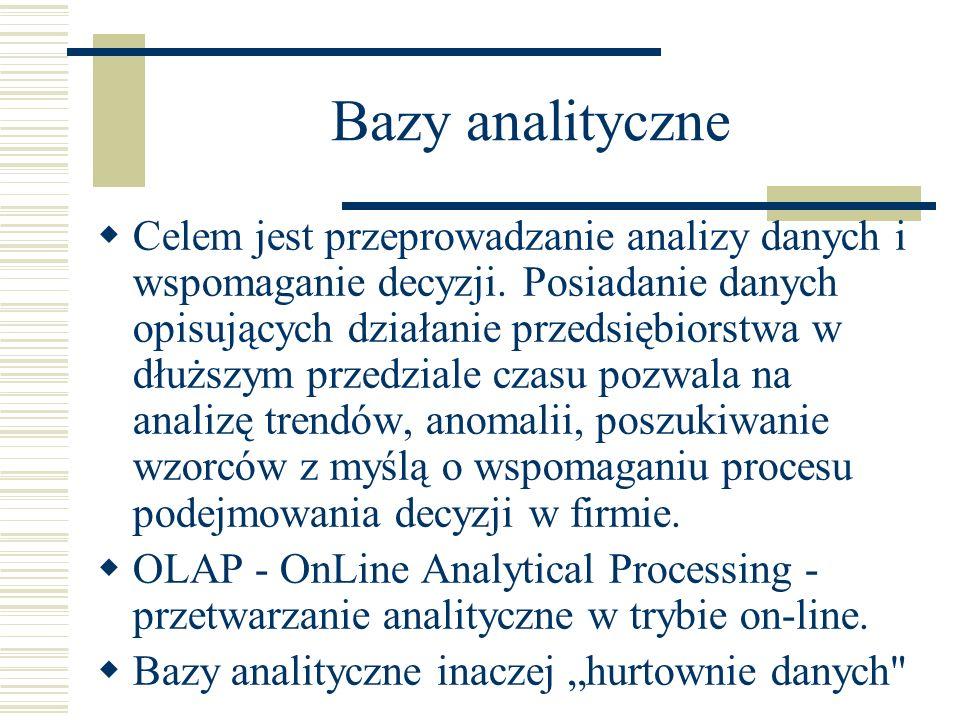 Bazy analityczne Celem jest przeprowadzanie analizy danych i wspomaganie decyzji. Posiadanie danych opisujących działanie przedsiębiorstwa w dłuższym