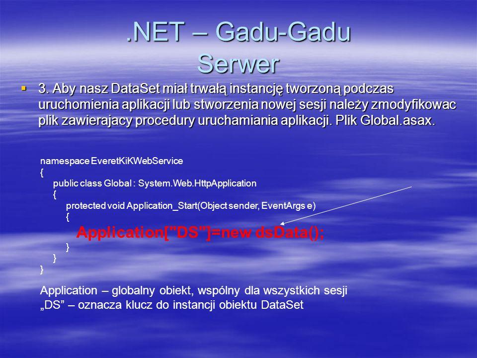.NET – Gadu-Gadu Serwer 3. Aby nasz DataSet miał trwałą instancję tworzoną podczas uruchomienia aplikacji lub stworzenia nowej sesji należy zmodyfikow