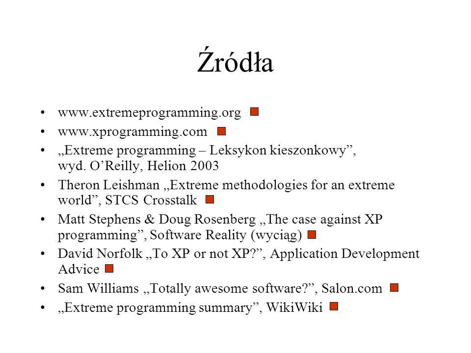 www.extremeprogramming.org www.xprogramming.com Extreme programming – Leksykon kieszonkowy, wyd. OReilly, Helion 2003 Theron Leishman Extreme methodol