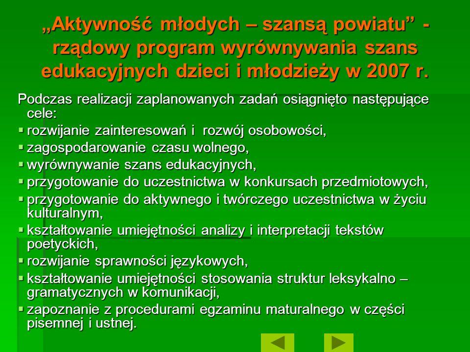 Aktywność młodych – szansą powiatu - rządowy program wyrównywania szans edukacyjnych dzieci i młodzieży w 2007 r. Podczas realizacji zaplanowanych zad