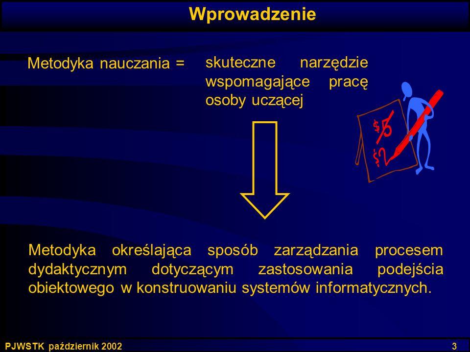 PJWSTK październik 2002 3 Metodyka określająca sposób zarządzania procesem dydaktycznym dotyczącym zastosowania podejścia obiektowego w konstruowaniu