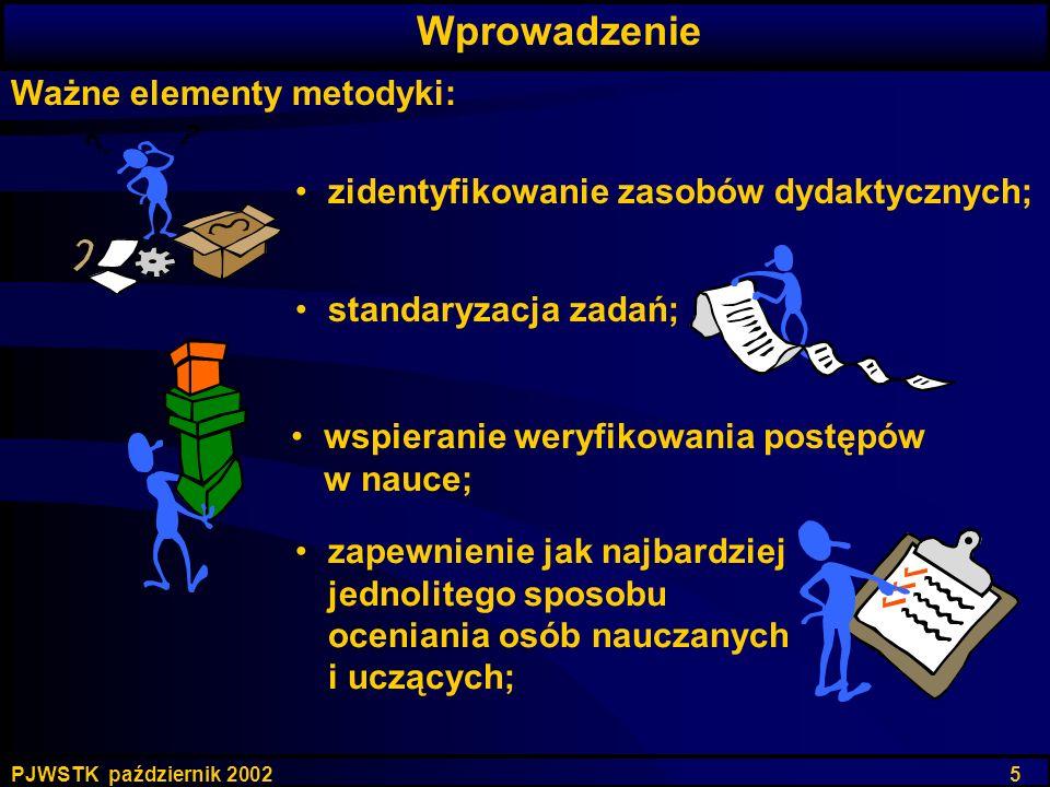PJWSTK październik 2002 5 Ważne elementy metodyki: zidentyfikowanie zasobów dydaktycznych; Wprowadzenie zapewnienie jak najbardziej jednolitego sposob