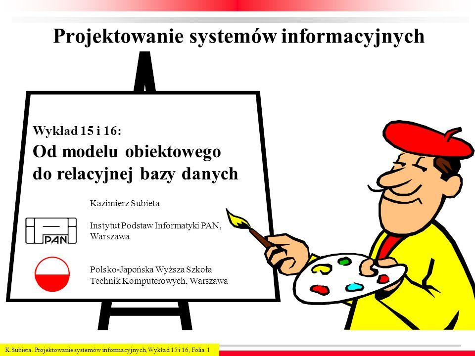 K.Subieta. Projektowanie systemów informacyjnych, Wykład 15 i 16, Folia 1 Projektowanie systemów informacyjnych Kazimierz Subieta Instytut Podstaw Inf