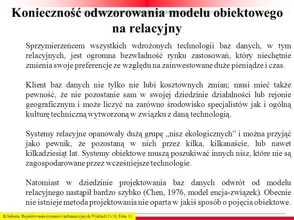 K.Subieta. Projektowanie systemów informacyjnych, Wykład 15 i 16, Folia 11 Konieczność odwzorowania modelu obiektowego na relacyjny Sprzymierzeńcem ws