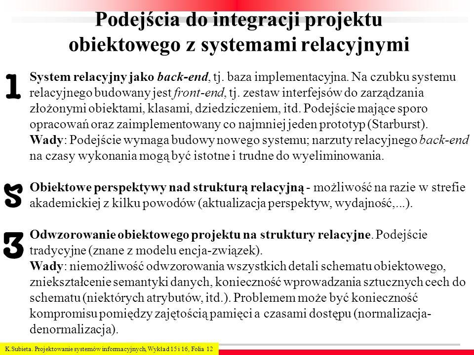 K.Subieta. Projektowanie systemów informacyjnych, Wykład 15 i 16, Folia 12 Podejścia do integracji projektu obiektowego z systemami relacyjnymi System