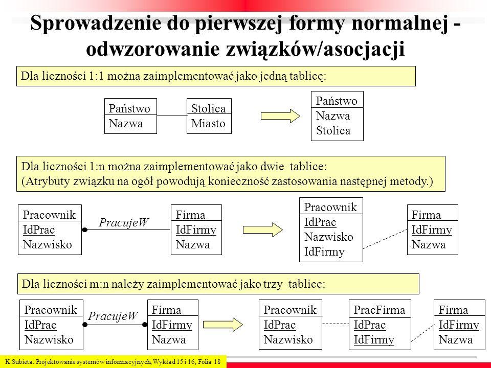 K.Subieta. Projektowanie systemów informacyjnych, Wykład 15 i 16, Folia 18 Sprowadzenie do pierwszej formy normalnej - odwzorowanie związków/asocjacji