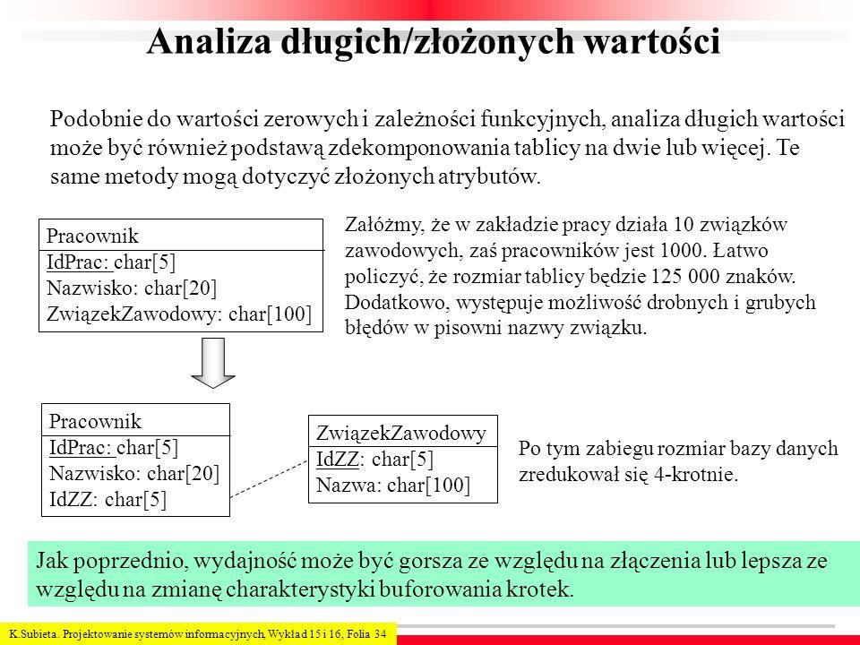 K.Subieta. Projektowanie systemów informacyjnych, Wykład 15 i 16, Folia 34 Analiza długich/złożonych wartości Podobnie do wartości zerowych i zależnoś