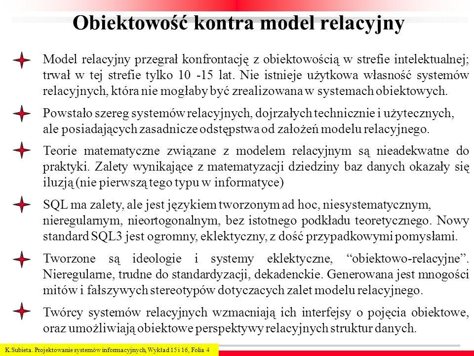 K.Subieta. Projektowanie systemów informacyjnych, Wykład 15 i 16, Folia 4 Obiektowość kontra model relacyjny Model relacyjny przegrał konfrontację z o