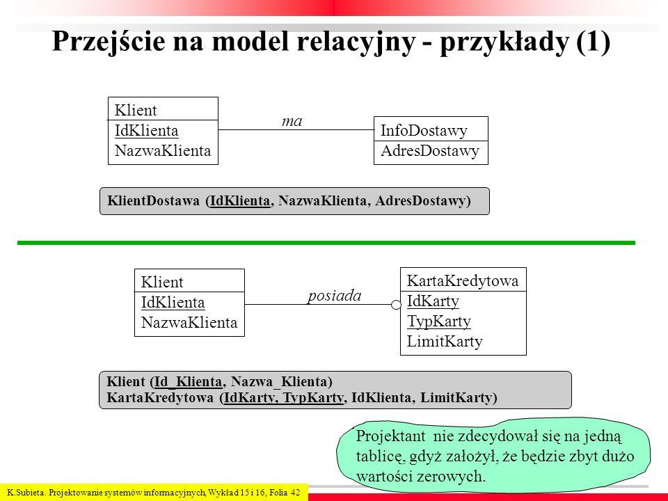 K.Subieta. Projektowanie systemów informacyjnych, Wykład 15 i 16, Folia 42 Przejście na model relacyjny - przykłady (1) KlientDostawa (IdKlienta, Nazw