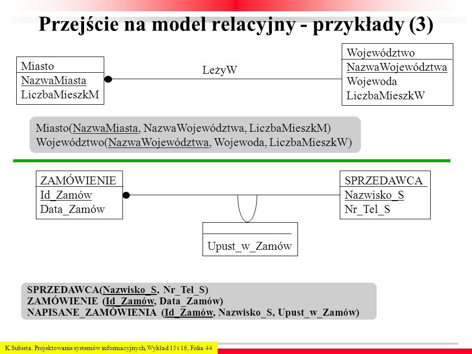 K.Subieta. Projektowanie systemów informacyjnych, Wykład 15 i 16, Folia 44 Przejście na model relacyjny - przykłady (3) SPRZEDAWCA(Nazwisko_S, Nr_Tel_