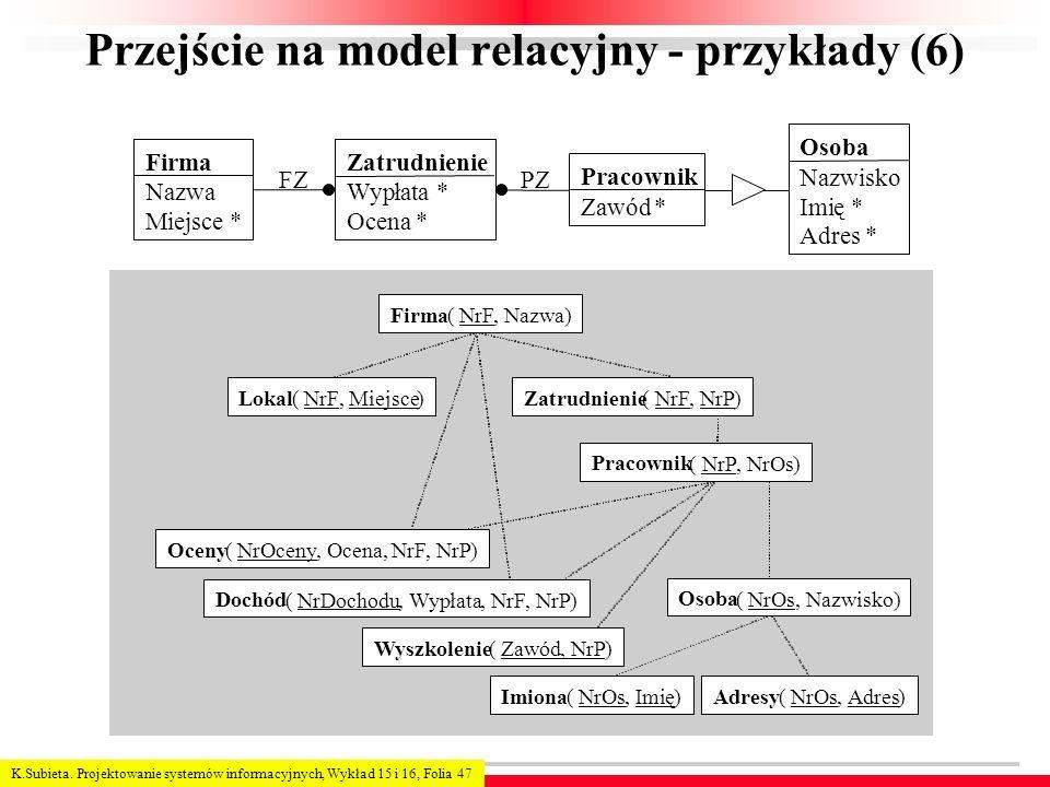 K.Subieta. Projektowanie systemów informacyjnych, Wykład 15 i 16, Folia 47 Przejście na model relacyjny - przykłady (6) Firma Nazwa Miejsce * Pracowni