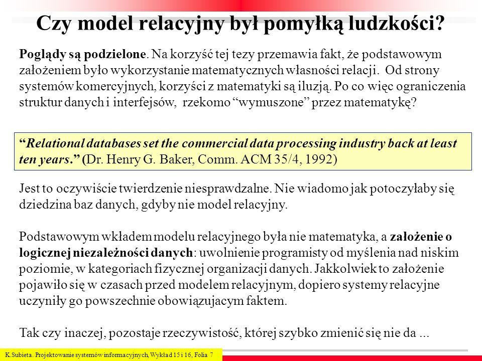 K.Subieta. Projektowanie systemów informacyjnych, Wykład 15 i 16, Folia 7 Czy model relacyjny był pomyłką ludzkości? Poglądy są podzielone. Na korzyść