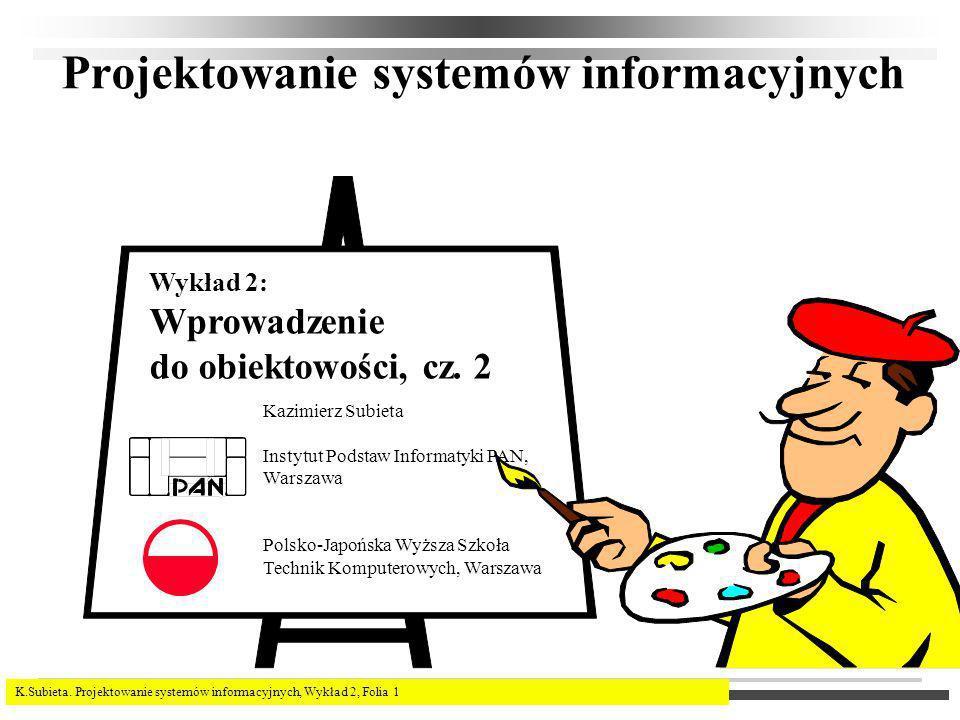 K.Subieta. Projektowanie systemów informacyjnych, Wykład 2, Folia 1 Projektowanie systemów informacyjnych Kazimierz Subieta Instytut Podstaw Informaty