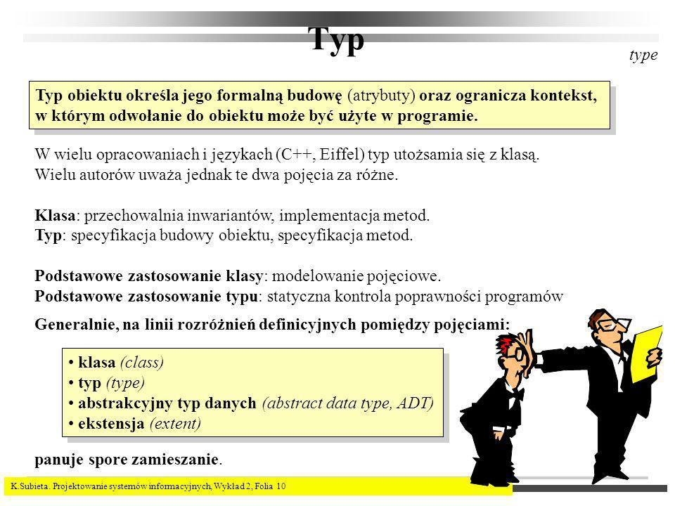 K.Subieta. Projektowanie systemów informacyjnych, Wykład 2, Folia 10 Typ W wielu opracowaniach i językach (C++, Eiffel) typ utożsamia się z klasą. Wie
