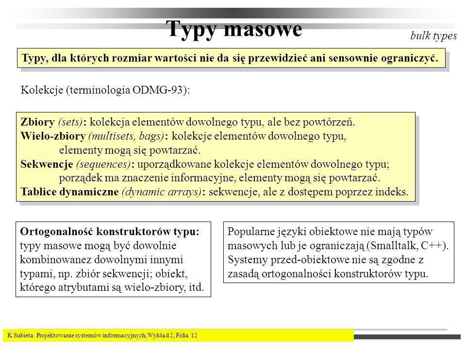 K.Subieta. Projektowanie systemów informacyjnych, Wykład 2, Folia 12 Typy masowe bulk types Typy, dla których rozmiar wartości nie da się przewidzieć
