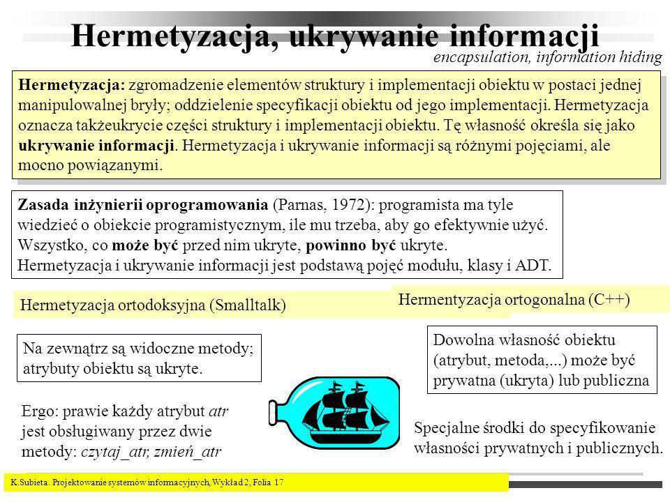 K.Subieta. Projektowanie systemów informacyjnych, Wykład 2, Folia 17 Hermetyzacja, ukrywanie informacji Zasada inżynierii oprogramowania (Parnas, 1972