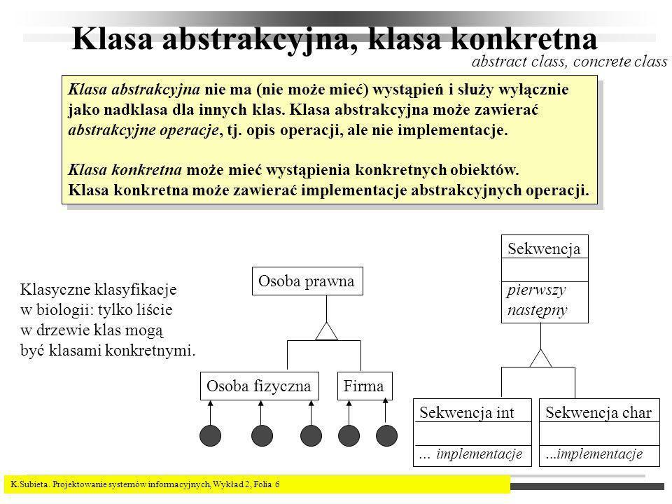 K.Subieta. Projektowanie systemów informacyjnych, Wykład 2, Folia 6 Klasa abstrakcyjna, klasa konkretna abstract class, concrete class Klasa abstrakcy