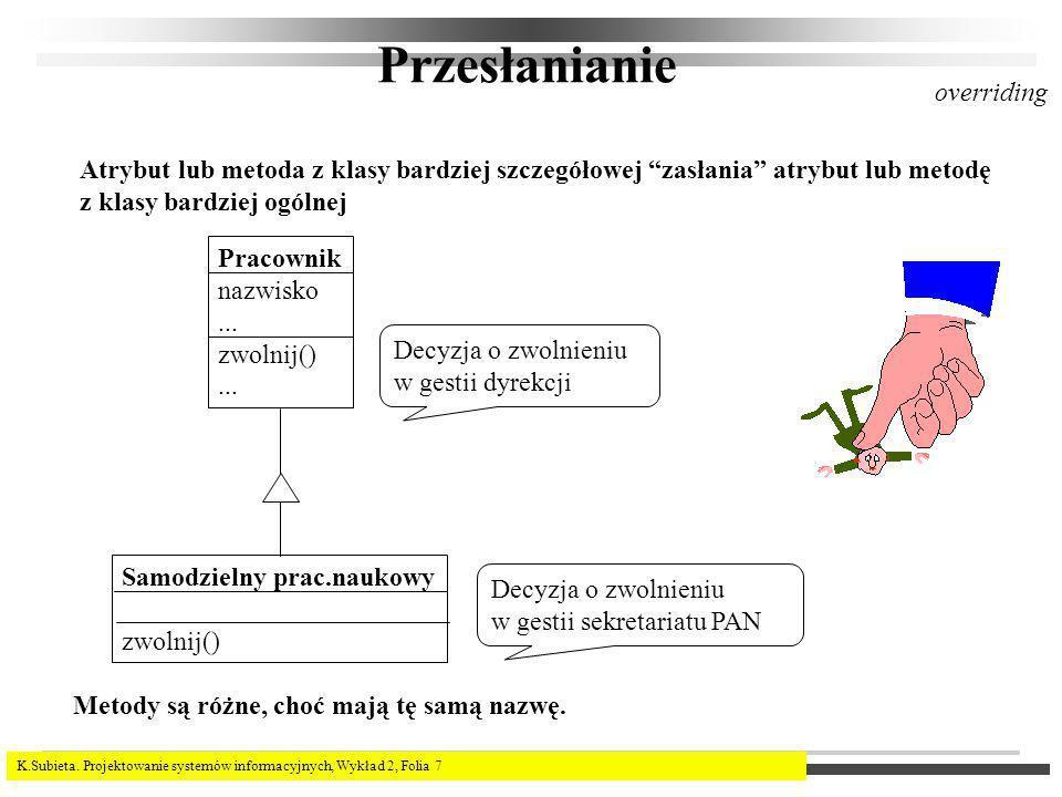 K.Subieta. Projektowanie systemów informacyjnych, Wykład 2, Folia 7 Przesłanianie Atrybut lub metoda z klasy bardziej szczegółowej zasłania atrybut lu