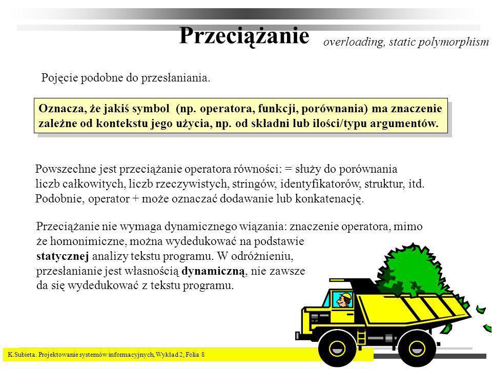 K.Subieta. Projektowanie systemów informacyjnych, Wykład 2, Folia 8 Przeciążanie overloading, static polymorphism Pojęcie podobne do przesłaniania. Oz