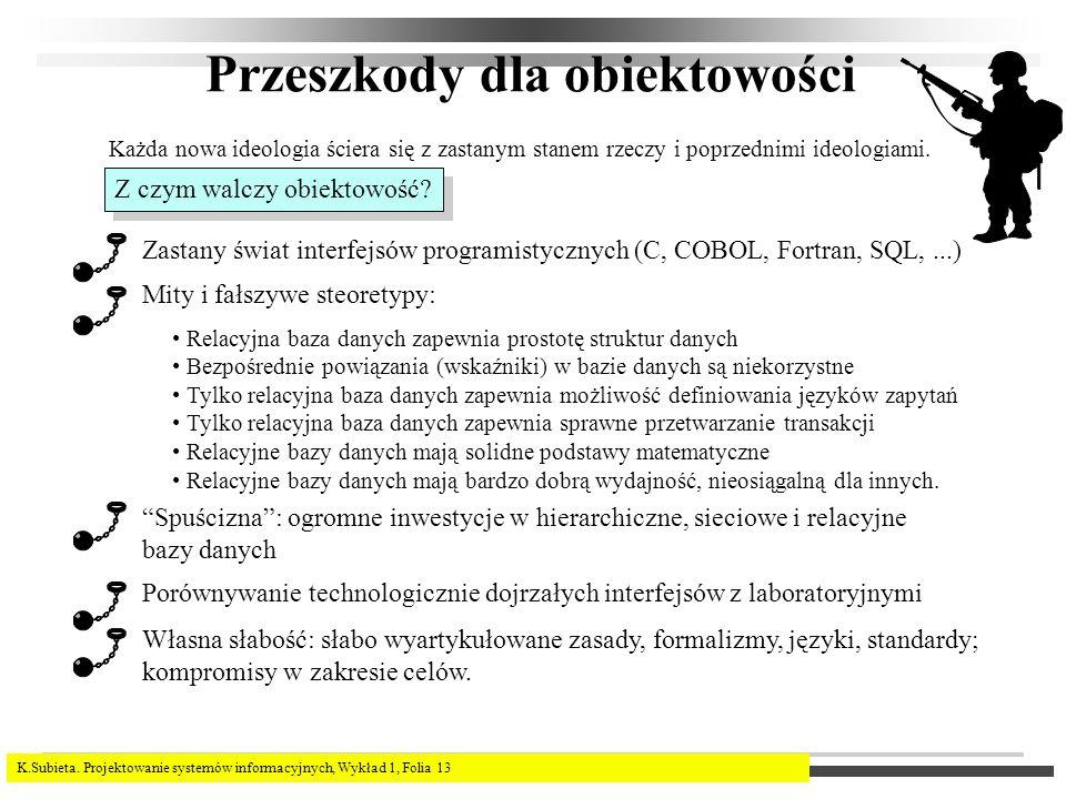 K.Subieta. Projektowanie systemów informacyjnych, Wykład 1, Folia 13 Przeszkody dla obiektowości Każda nowa ideologia ściera się z zastanym stanem rze