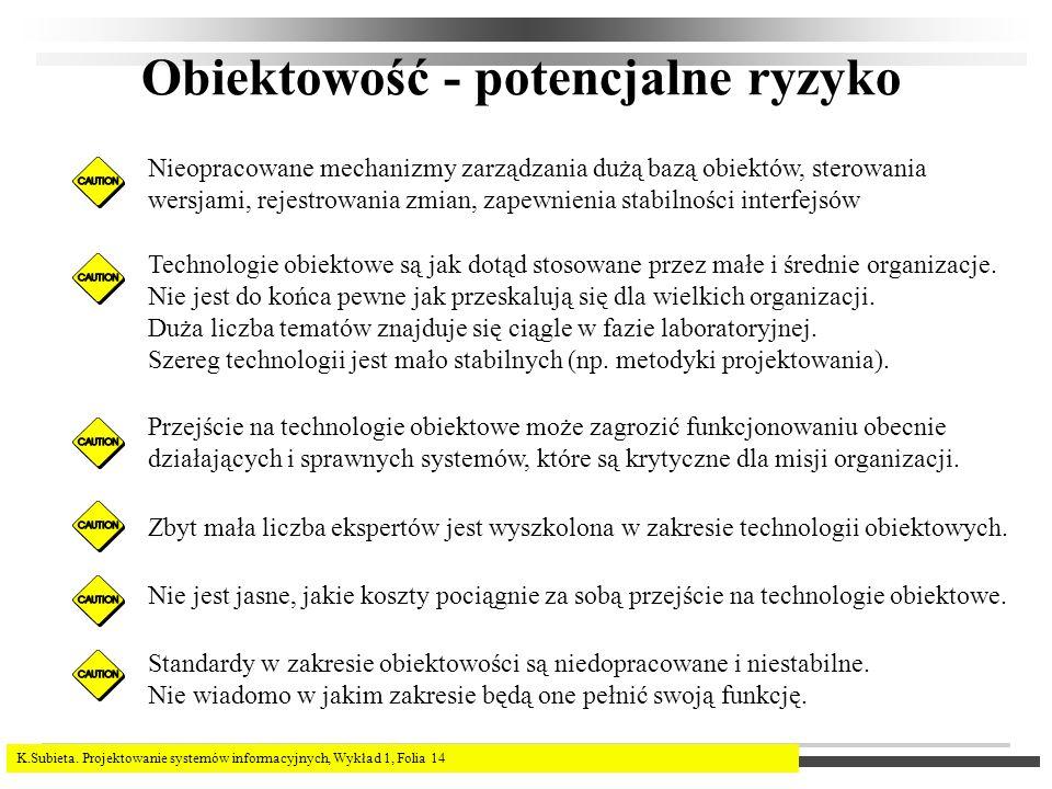 K.Subieta. Projektowanie systemów informacyjnych, Wykład 1, Folia 14 Obiektowość - potencjalne ryzyko Nieopracowane mechanizmy zarządzania dużą bazą o