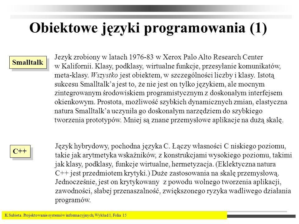 K.Subieta. Projektowanie systemów informacyjnych, Wykład 1, Folia 15 Obiektowe języki programowania (1) Smalltalk Jezyk zrobiony w latach 1976-83 w Xe