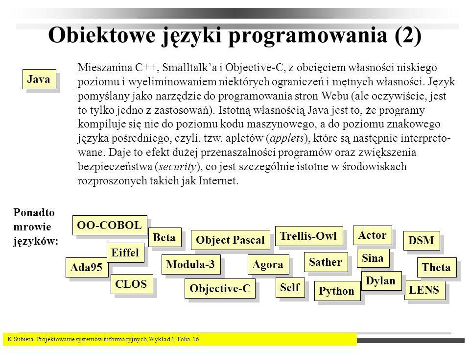 K.Subieta. Projektowanie systemów informacyjnych, Wykład 1, Folia 16 Obiektowe języki programowania (2) Java Mieszanina C++, Smalltalka i Objective-C,