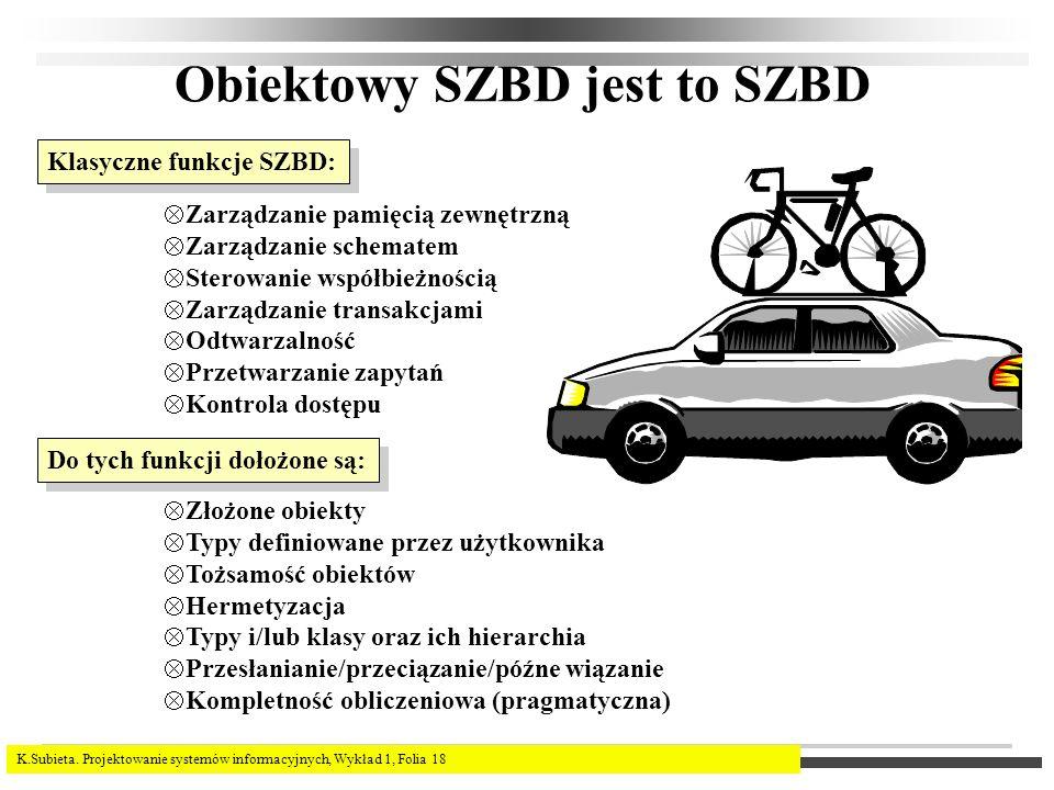 K.Subieta. Projektowanie systemów informacyjnych, Wykład 1, Folia 18 Obiektowy SZBD jest to SZBD Klasyczne funkcje SZBD: Zarządzanie pamięcią zewnętrz