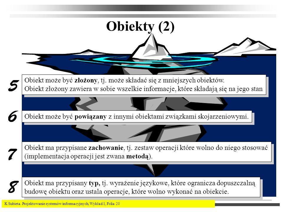 K.Subieta. Projektowanie systemów informacyjnych, Wykład 1, Folia 20 Obiekty (2) Obiekt może być złożony, tj. może składać się z mniejszych obiektów.