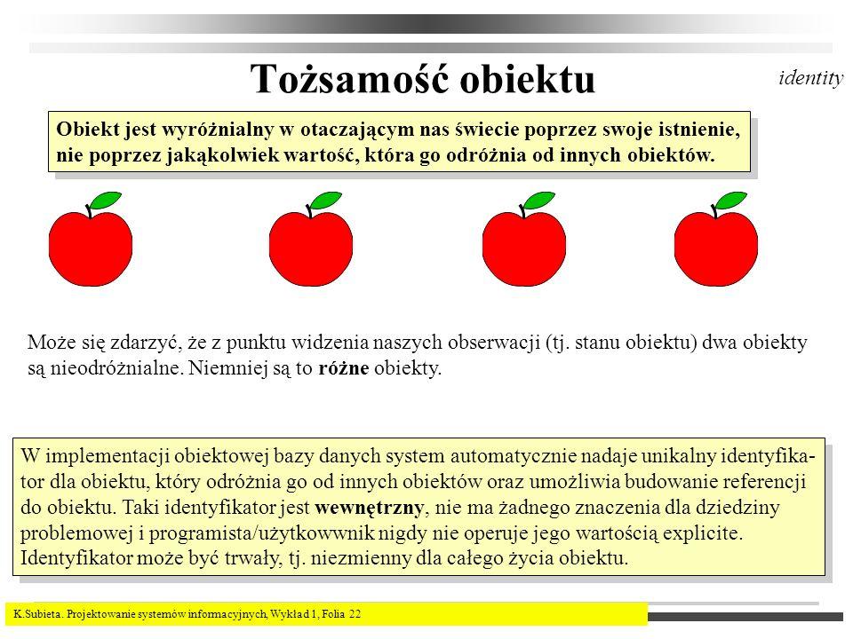 K.Subieta. Projektowanie systemów informacyjnych, Wykład 1, Folia 22 Tożsamość obiektu Obiekt jest wyróżnialny w otaczającym nas świecie poprzez swoje